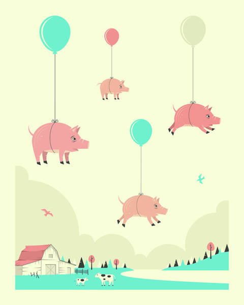 Pig Photograph - Flock Of Pigs by Jazzberry Blue