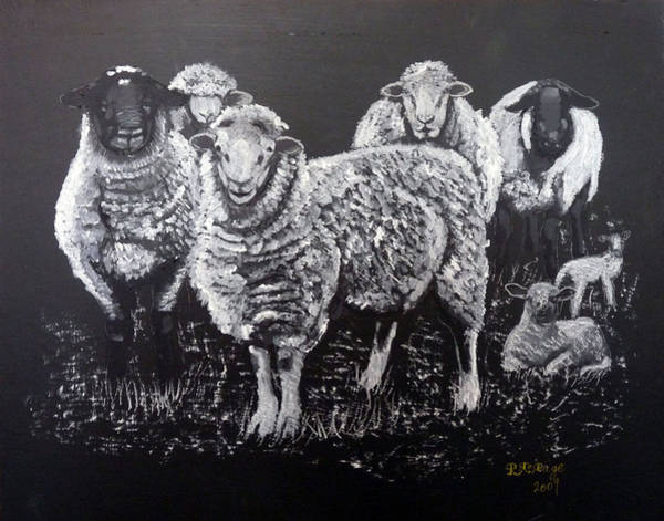 Painting - Flock Of Sheep by Richard Le Page