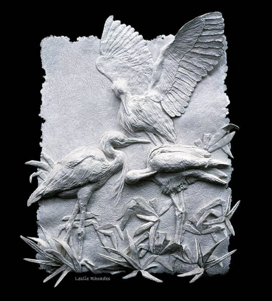 Heron Mixed Media - Flock This Way by Leslie Rhoades