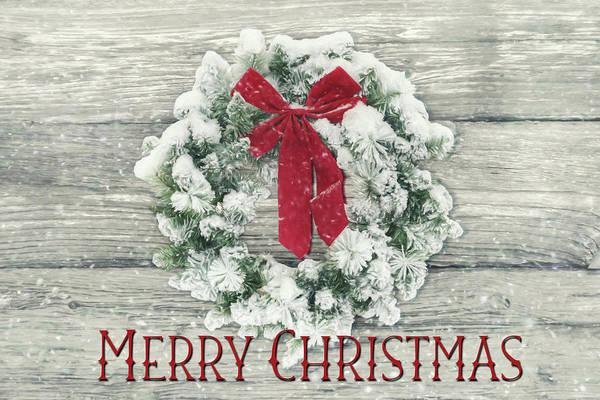 Wall Art - Photograph - Flocked Christmas Wreath by Lori Deiter