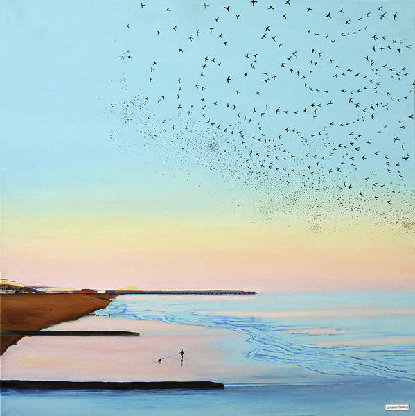 Painting - Flocking In - Brighton Sunsets by Jacqueline Hammond