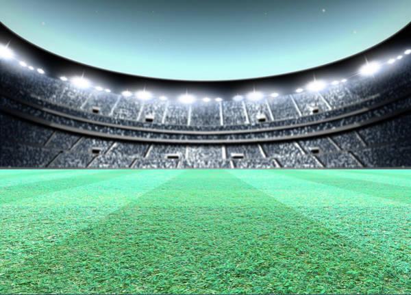 Playing Field Wall Art - Digital Art - Floodlit Stadium Night by Allan Swart