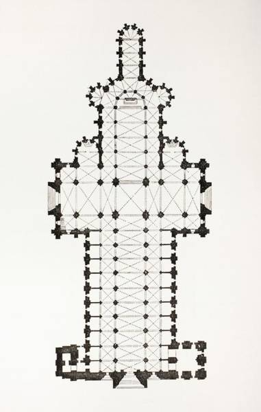 Notre Dame Drawing - Floor Plan Of The 13th Century Ogive by Vintage Design Pics
