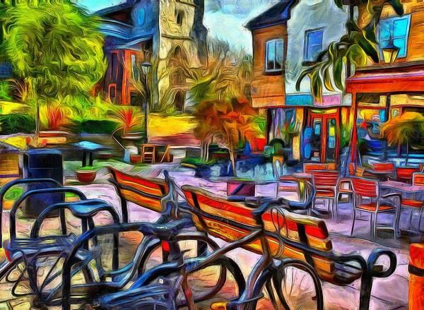 Floppy Bikes And Empty Benches Art Print