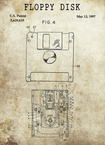 Wall Art - Glass Art - Floppy Disk Patent by Dan Sproul