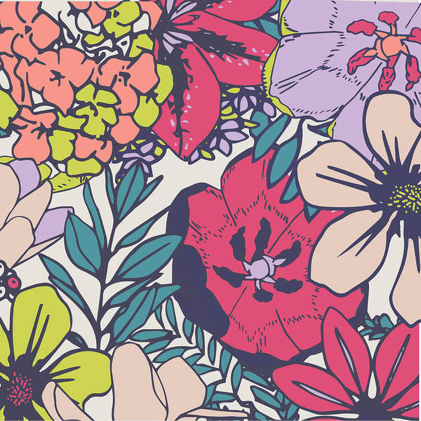 Wallpaper Mixed Media - Flora by Chelsea Parker