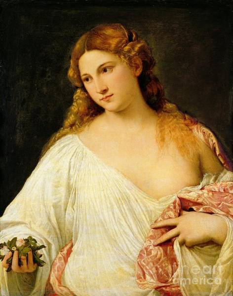 Titian Painting - Flora by Titian