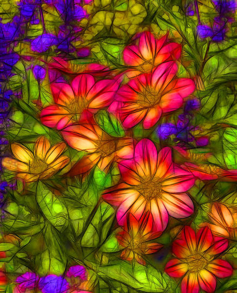Abstrait Digital Art - Floral 1 by Jean-Marc Lacombe