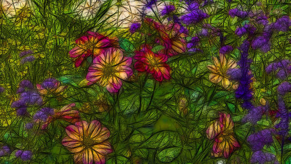Abstrait Digital Art - Floral 2 by Jean-Marc Lacombe