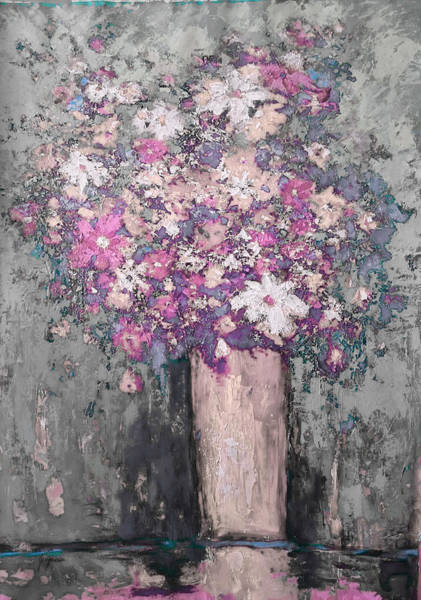 Floral Abstract - Reverse - Modern Impressionist Palette Knife Work Art Print