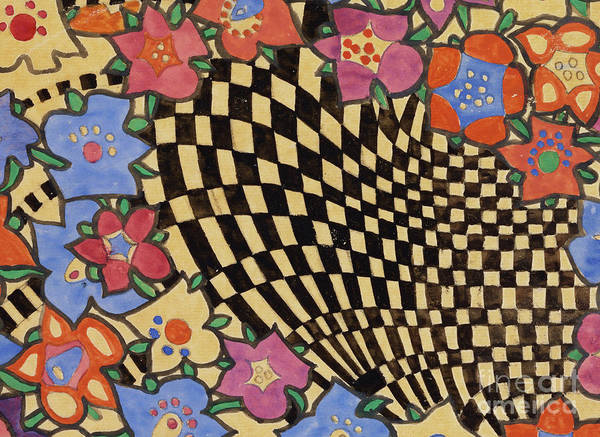 Close Up Drawing - Floral And Checkered Fabric Design by Charles Rennie Mackintosh