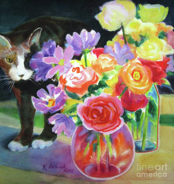 Wall Art - Painting - Floral Arrangement And Curious Cat by Kathy Braud
