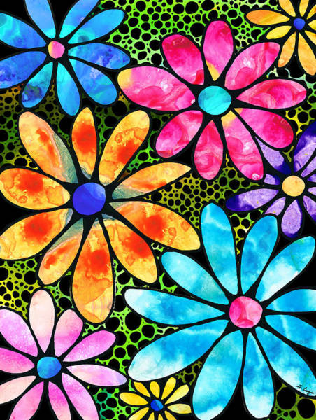 Painting - Floral Art - Big Flower Love - Sharon Cummings by Sharon Cummings