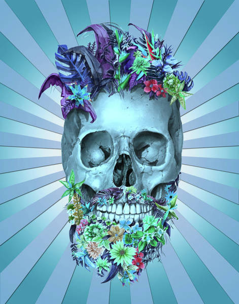 Mustache Painting - Floral Beard Skull 2 by Bekim Art