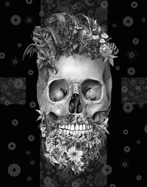 Mustache Painting - Floral Beard Skull 3 by Bekim Art