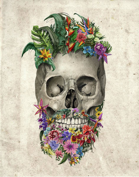 Mustache Painting - Floral Beard Skull by Bekim Art