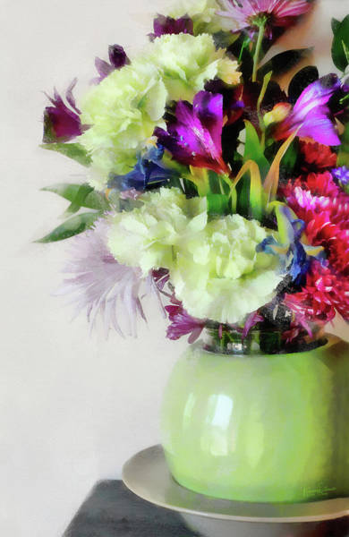 Digital Art - Floral Bouquet In Green by JGracey Stinson