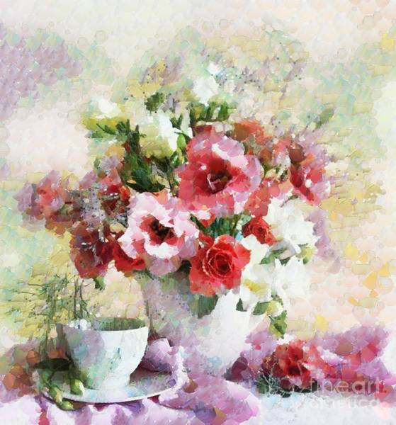 Painting - Floral Bouquet Table Setting In Tiny Bubbles by Catherine Lott