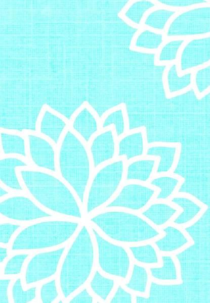 Color Burst Digital Art - Floral Bursts Aqua by Chastity Hoff