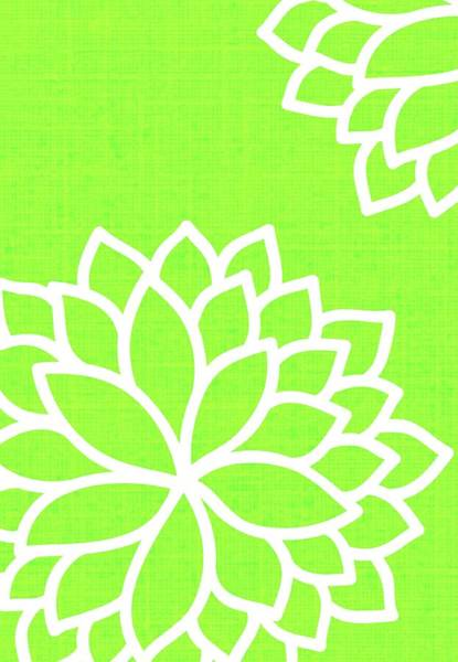 Vibrations Digital Art - Floral Bursts With Lime by Chastity Hoff
