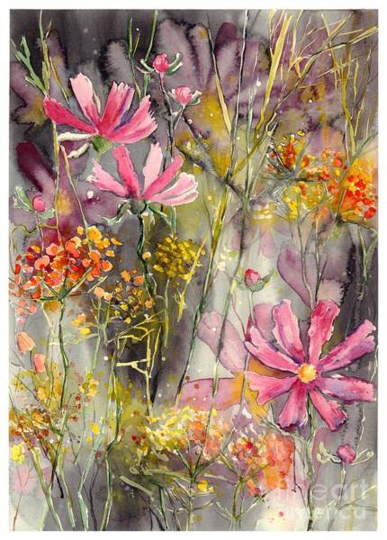 Watercolour Landscape Painting - Floral Cosmos by Suzann's Art