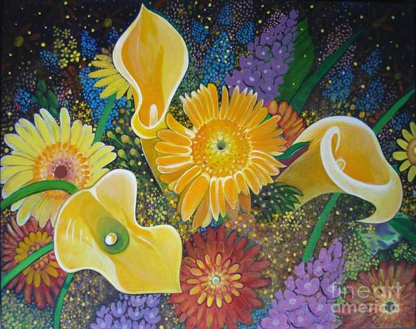 Painting - Floral Fireworks by Helena Tiainen