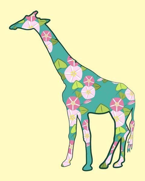 Digital Art - Floral Giraffe by MM Anderson