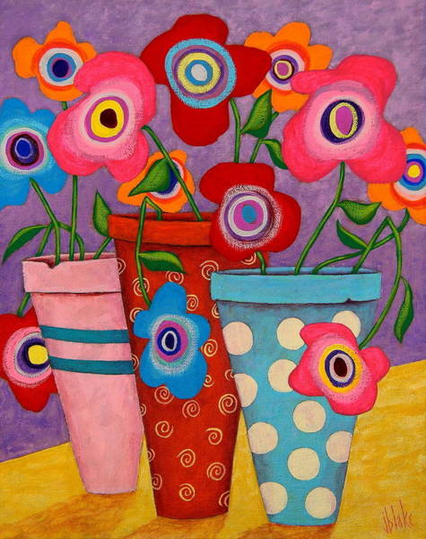Folk Painting - Floral Happiness by John Blake