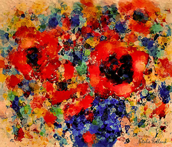 Red Poppy Mixed Media - Floral Happiness by Natalie Holland