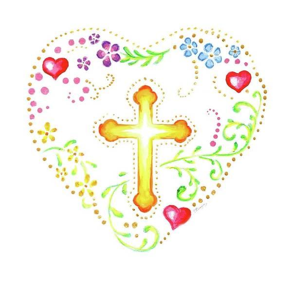 Fleur De Lys Painting - Floral Heart With Cross by Jenny McLaughlin