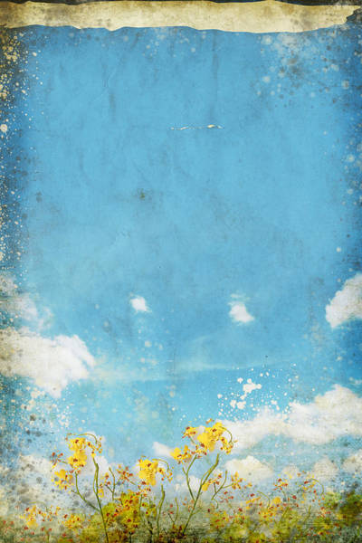 Manuscript Wall Art - Painting - Floral In Blue Sky And Cloud by Setsiri Silapasuwanchai