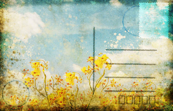 Aging Photograph - Floral In Blue Sky Postcard by Setsiri Silapasuwanchai
