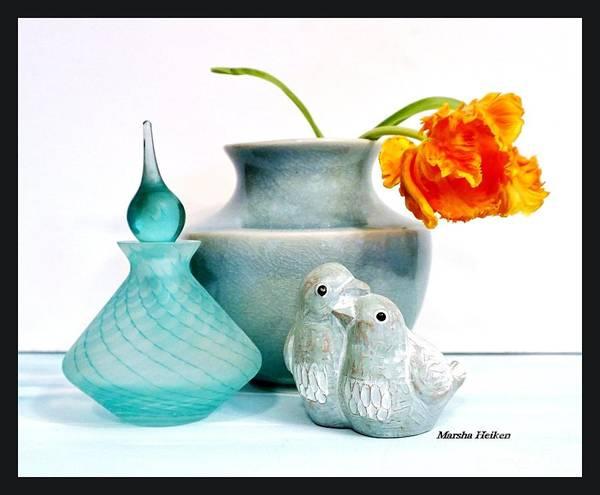 Wall Art - Photograph - Floral Lovebirds Still Life by Marsha Heiken