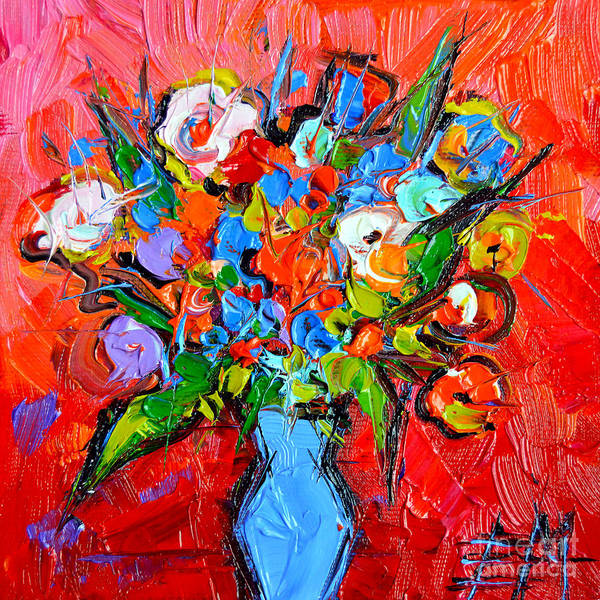 Pain Painting - Floral Miniature - Abstract 0115 by Mona Edulesco