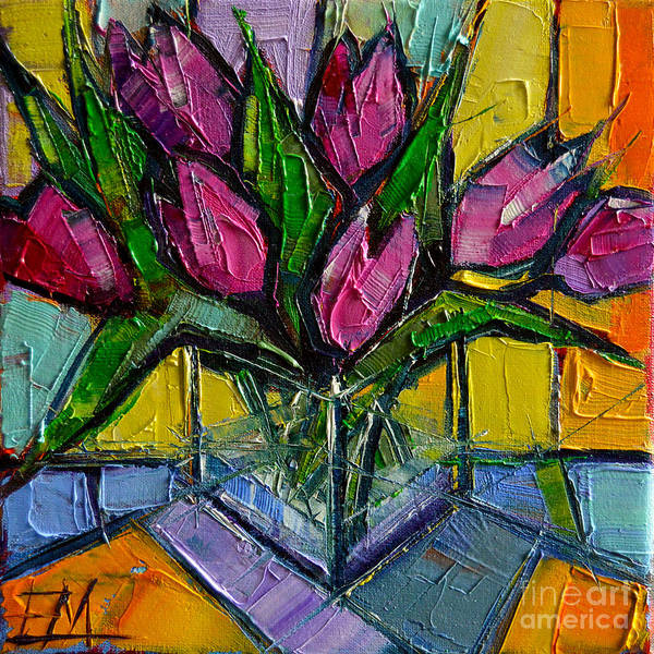 Pain Painting - Floral Miniature - Abstract 0615 - Pink Tulips by Mona Edulesco
