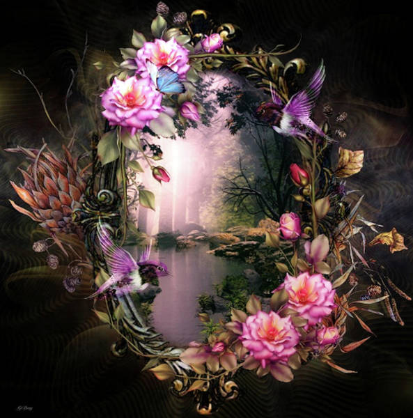 Marijuana Mixed Media - Floral Mirror 002 by G Berry