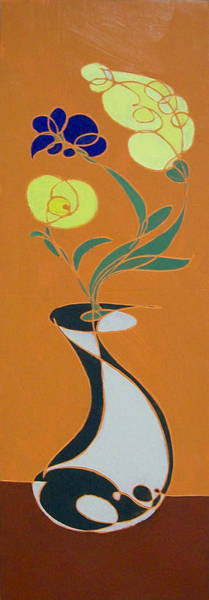 Painting - Floral On Orange by John Gibbs