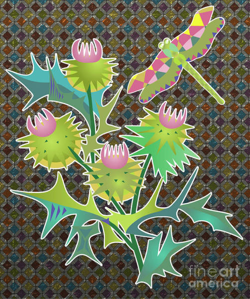 Digital Art -  Floral Pattern With Thistle by Ariadna De Raadt