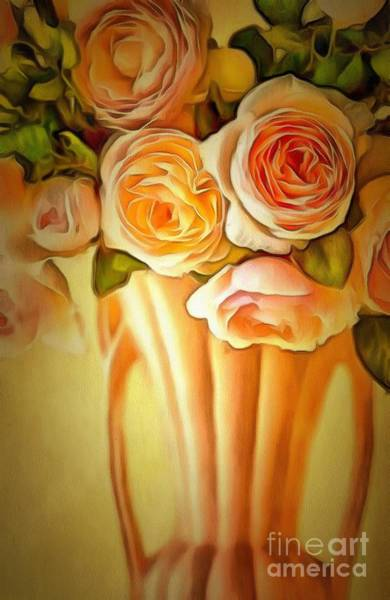Digital Art - Floral Peaches And Cream In Ambiance by Catherine Lott