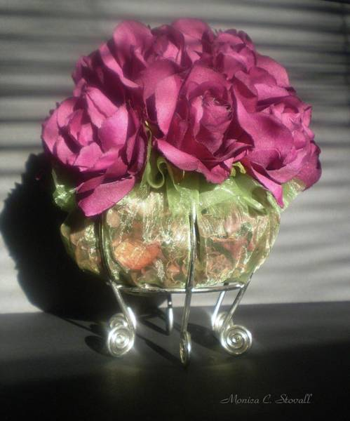 Photograph - Floral Potpourri On A Silver Stand by Monica C Stovall