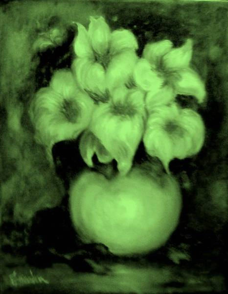 Painting - Floral Puffs In Green by Jordana Sands