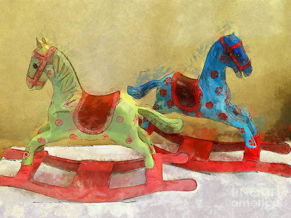 Digital Art - Floral Rocking Horses by Claire Bull