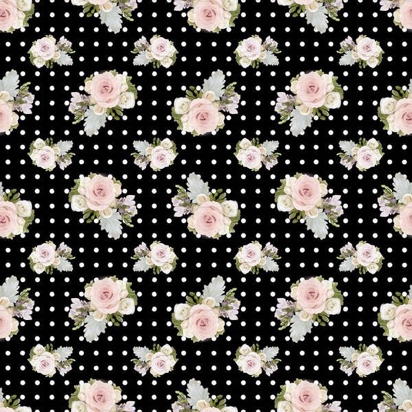 Girly Painting - Floral Rose Cluster W Dot Bedding Home Decor Art by Audrey Jeanne Roberts