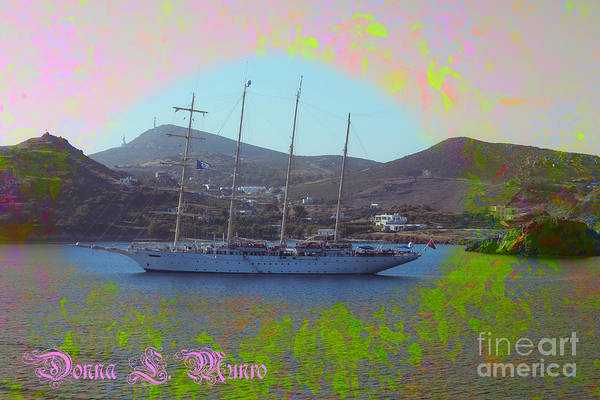 Digital Art - Floral Ship Scene Greece by Donna L Munro