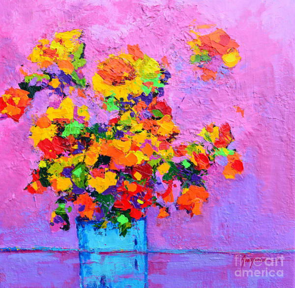Painting - Floral Still Life - Flowers In A Vase Modern Impressionist Palette Knife Artwork by Patricia Awapara