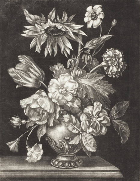 Painting - Floral Still Life With A Sunflower by Elias Christoph Heiss