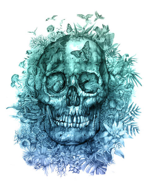 Psychedelic Image Painting - Floral Tropical Skull 2 by Bekim Art