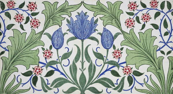 Wall Art - Painting - Floral Wallpaper Design With Tulips by William Morris