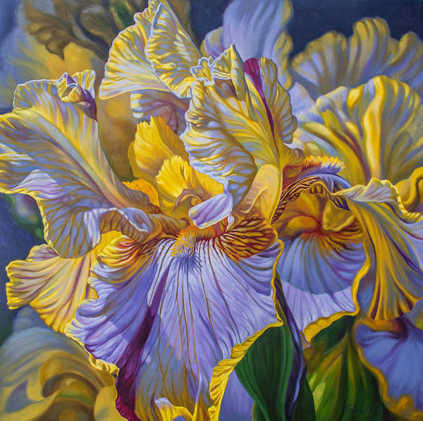 Botanic Painting - Floralscape 2 - Mauve And Yellow Irises 1 by Fiona Craig