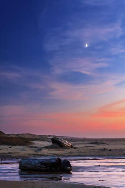 Oregon Dunes Photograph - Florence Beach Twilight Moon by James Eddy